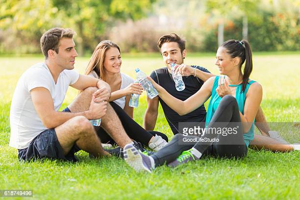 Young people taking a break