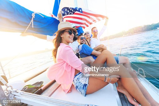 Young people traveling with an yacht