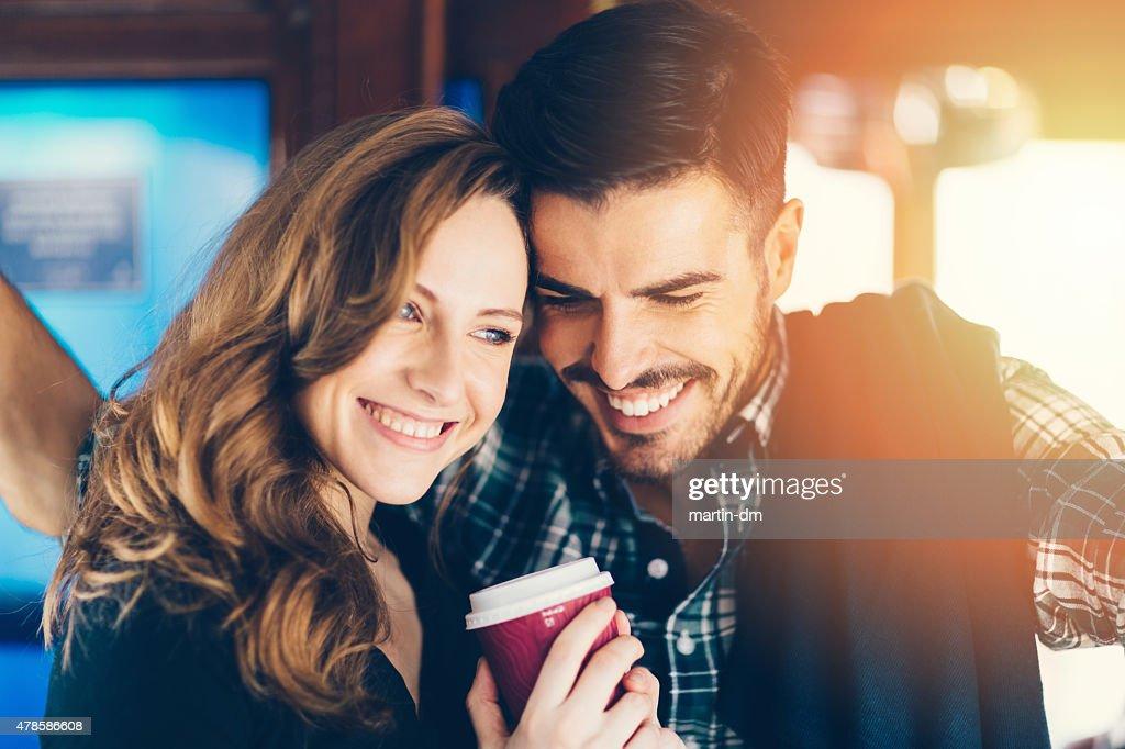 Happy couple in a tram