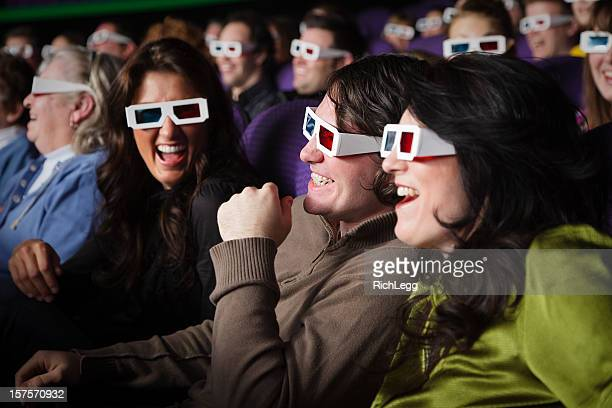 Young People Watching a 3D Movie