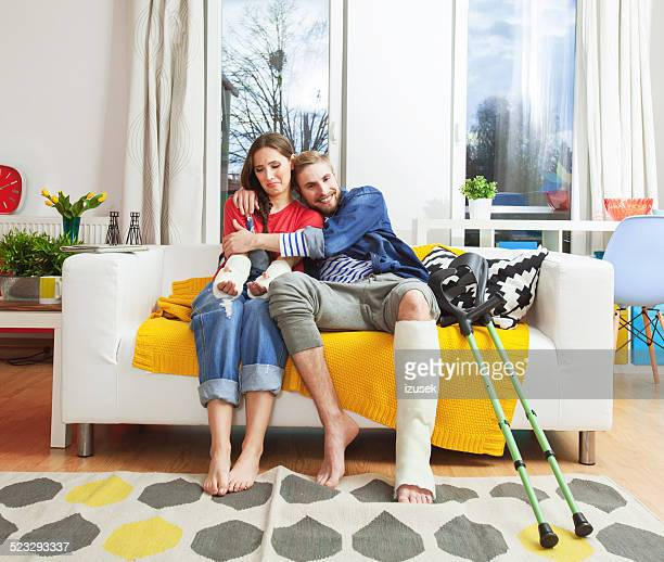 Young people with broken leg and arms