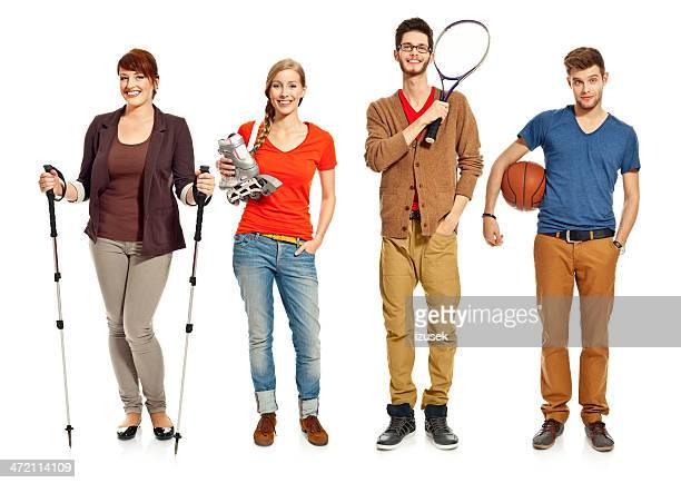 Young people with sport equipments