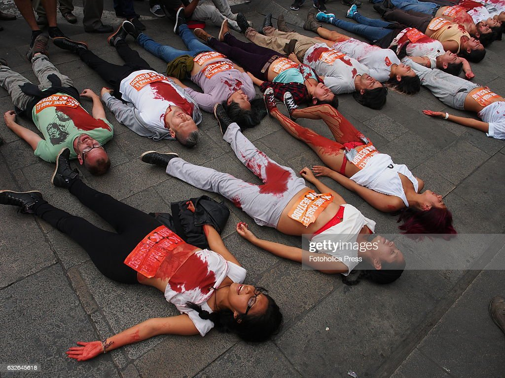 Attractive Young People With Stained Bodies Lying On Floor Dozens Of Young People With  Bodies Painted And
