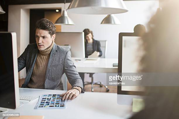 Young people working on a startup office