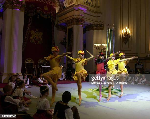 Young performers from the Hackney Empire entertain children at the launch at Buckingham Palace of 'Arts Kids' which encourages young people to engage...