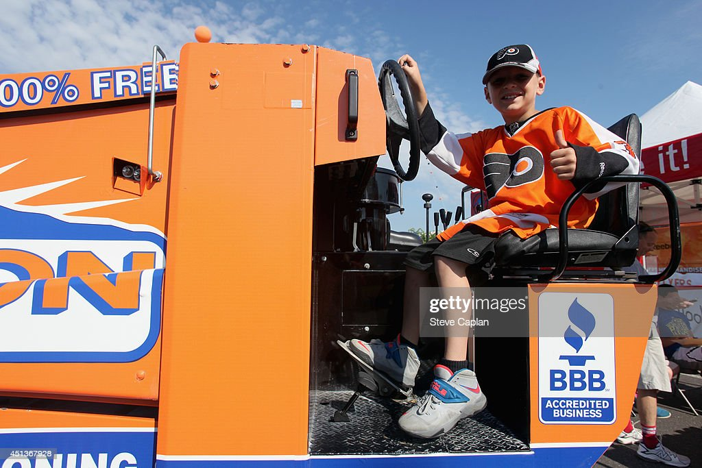 A young Philadelphia Flyers fan attends the Fan Fest as part of the 2014 NHL Entry Draft at the Wells Fargo Center on June 27, 2014 in Philadelphia, Pennsylvania.