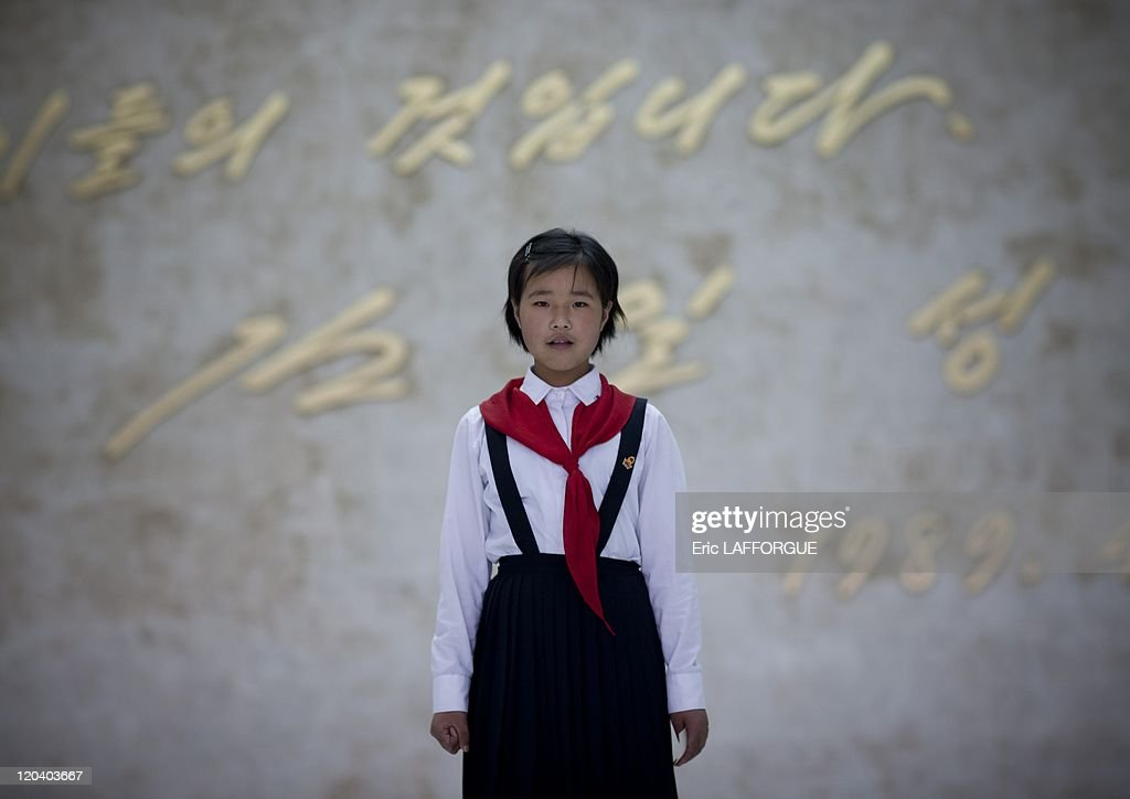 Young pioneer at children palace in Pyongyang, North Korea on May 21, 2009.