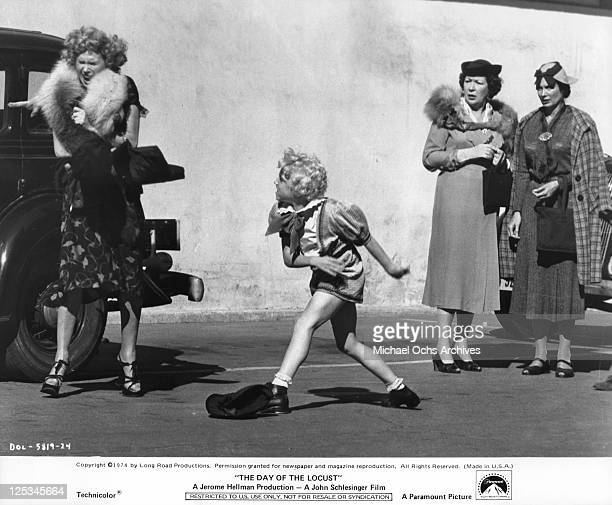 Young platinumhaired Jackie Haley explodes at his grotesquely ambitious stage mother Gloria Le Roy in a scene from the film 'The Day Of The Locust'...