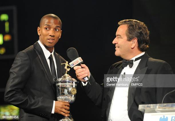 Young Player Award winner Ashley Young speaks to Jeff Stelling at the PFA Player of the Year Awards 2009 at the Grosvenor House Hotel London
