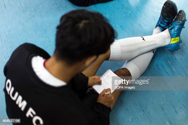 FIELD ILLESCAS TOLEDO SPAIN A young player seen taking note during the training The town of Illescas in Toledo in Spain welcomed a football team of...