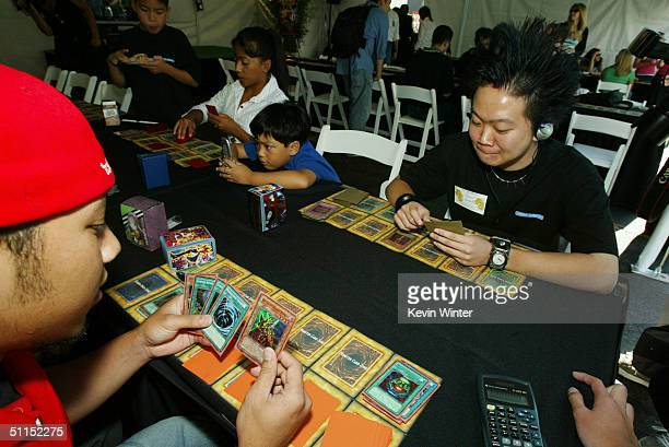 Young players compete at the premiere of Warner Bros 'YuGiOh The Movie' at the Chinese Theater August 7 2004 in Los Angeles California