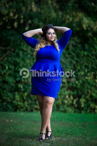 Young Plus Size Fashion Model Outdoors Xxl Woman On Nature Stock