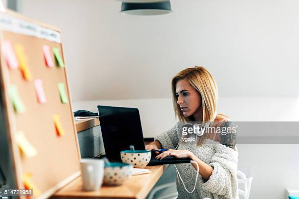 Young Programer Working In Her Office