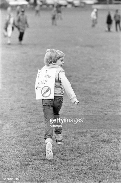 A young protester seen here letting of steam after marching with his father who had joined the CND protesters who marched through Coventry throwing...