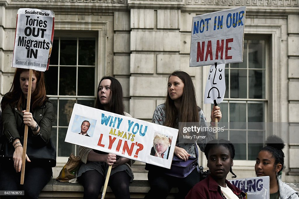 Young protesters demonstrate outside Downing Street, following the United Kingdom's decision to leave the EU following the referendum, on June 24, 2016 in London, England. The result from the historic EU referendum has now been declared and the United Kingdom has voted to LEAVE the European Union.