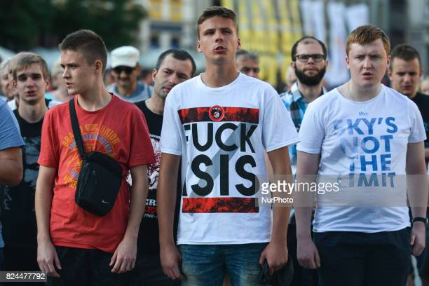 A young protestor with 'Fuck Isis' tshirts during Saturday's afternoon protest as some righwing political organisations including 'Academic...