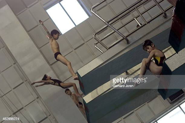 Young pupils during a diving class at the Wei Lun Sports and Athletics School Established in the mid 50s the school was renovated in 1995 at a cost...