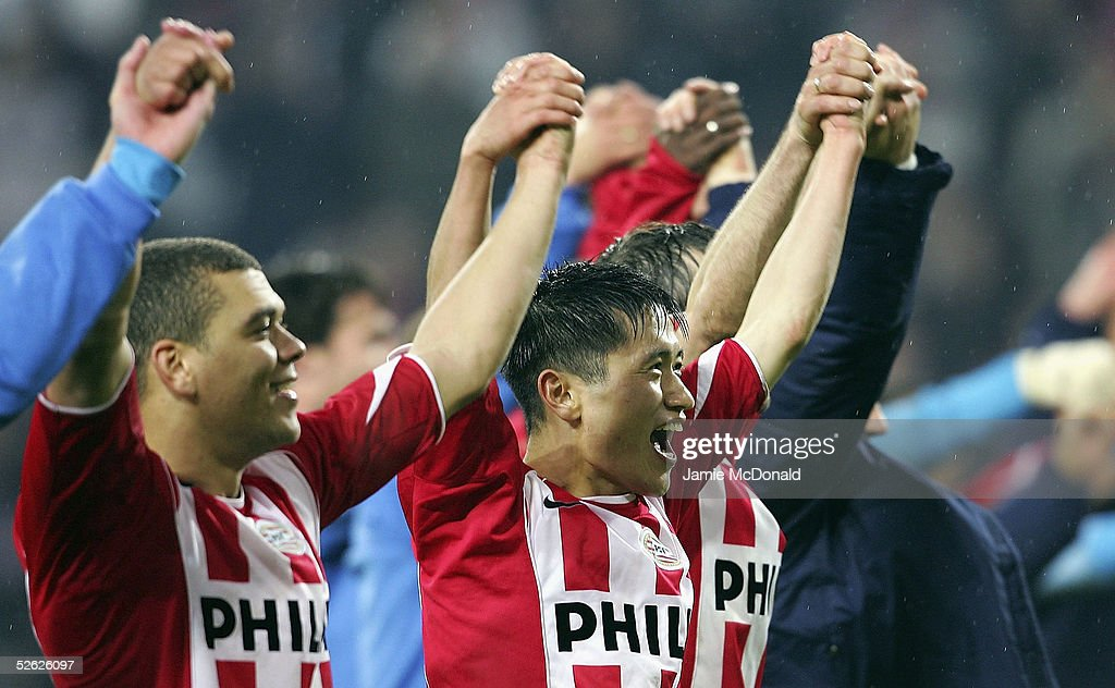 Young Pyo Lee of PSV celebrates victory over Lyon during the UEFA Champions League quarter final second leg match between PSV Eindhoven and Olmpique...