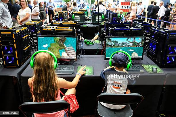 Young racegoers play in a Minecraft tournament during Ascot Dubai Duty Free Shergar Cup and Concert at Ascot Racecourse on August 9 2014 in Ascot...