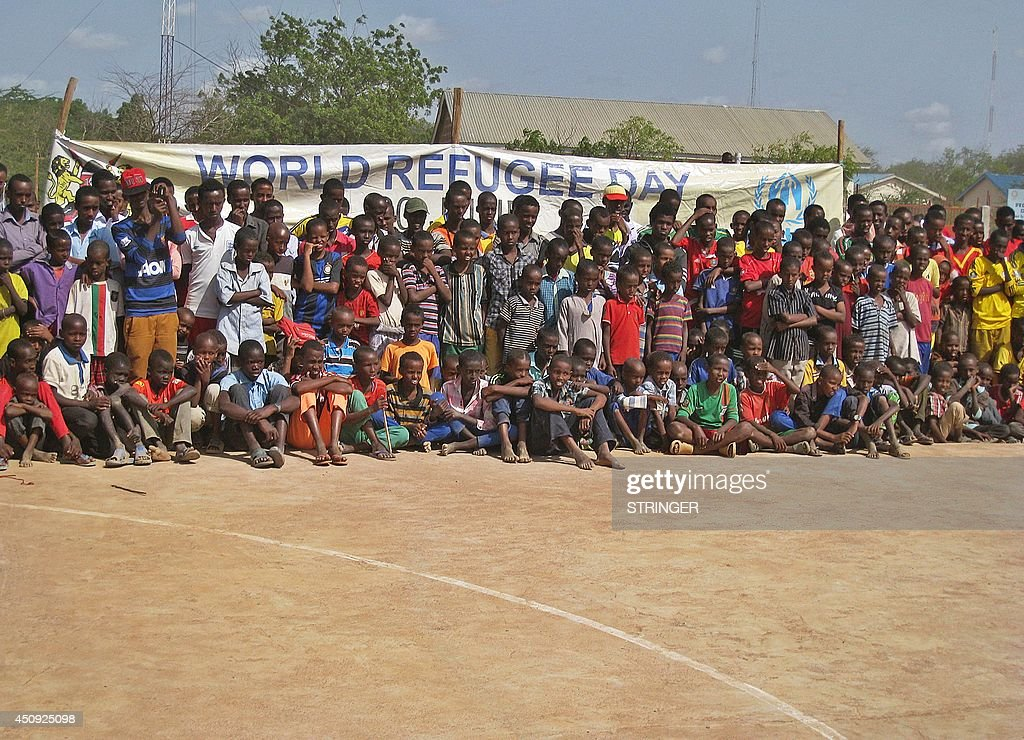 Young refugees gather for an event marking World Refugee Day in the Ifo1 site of the sprawling Dadaab refugee camp about 350 kilometres northeast of...