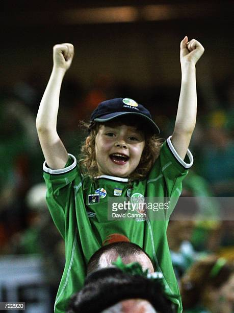 A young Republic of Ireland fan joins in with the celebrations after the FIFA World Cup Finals 2002 Group E match between Republic of Ireland and...