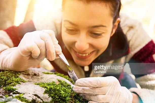 Junge Wissenschaftler Frau im Wald