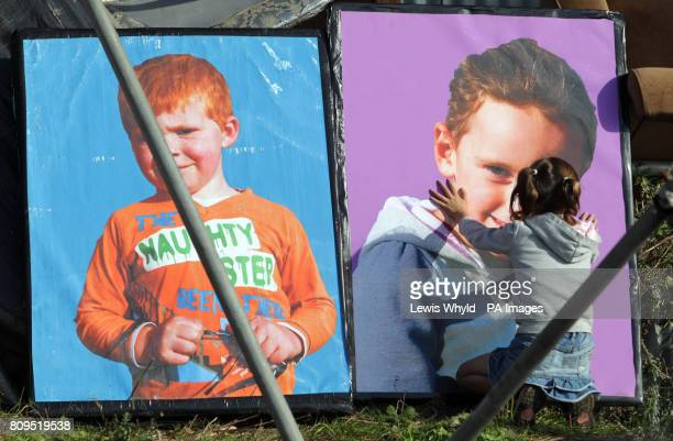 A young resident prepares to leave the Dale Farm travellers site at Cray's Hill near Basildon Essex where bailiffs will later this morning begin to...