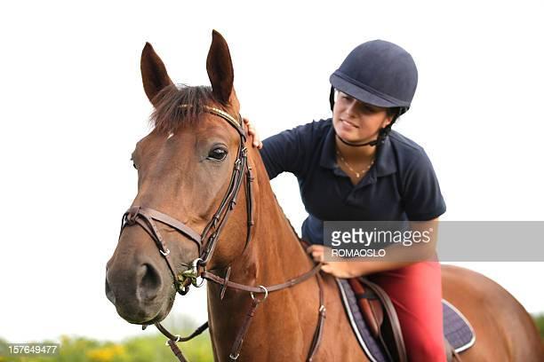 若いライダーに彼女の馬にホワイトの背景、ノルウェー