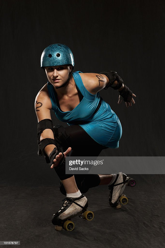 Young roller derby woman portrait : Stock Photo