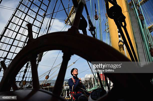 A young Russian Sea cadet performs his duties aboard the Krusenstern a four mast barque ship built in 1925 during a media tour of Russia 2018 FIFA...