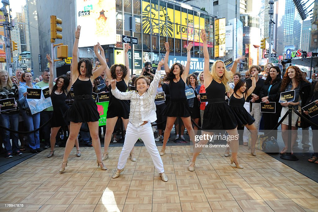 AMERICA - Young Sam Horowitz who created an internet sensation dancing at his Bar Mitzvah, appears on GOOD MORNING AMERICA, 9/14/13, airing on the ABC Television Network. SAM HOROWITZ, DANCERS