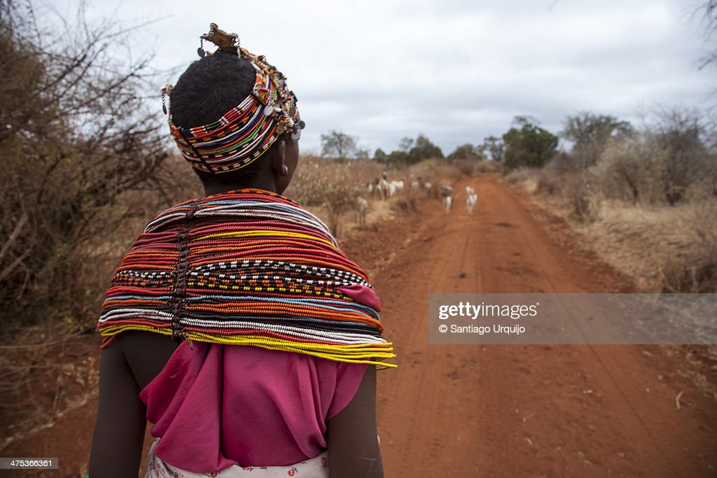 Young Samburu shepherdess traditionally dressed