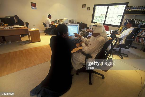 A young Saudi woman works in the administrative section of an internet company on January 2003 in Jeddah Saudi Arabia Since the 1960s females have...