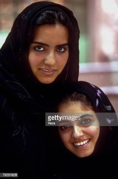 Young Saudi women students pose at the Dar AlHekma College for Women where three majors Business Information Systems Special Education and Interior...