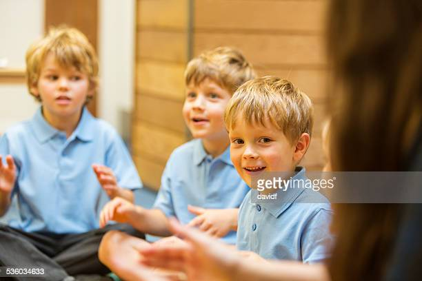 Young School Boys Interacting in the Classroom