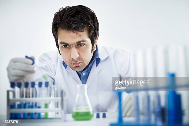 Young scientist working in chemical laboratory