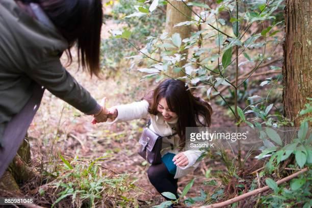 若い姉妹が森の登山