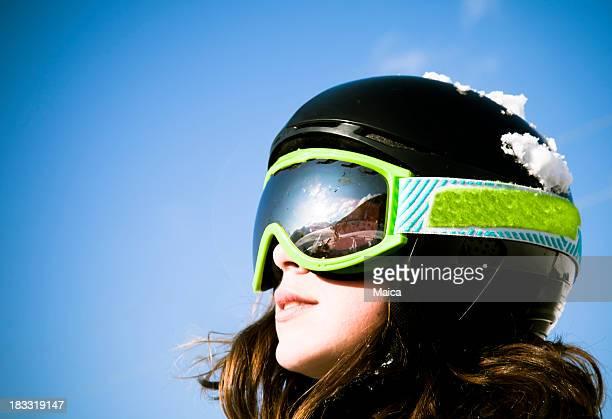 若いスキーヤーの顔
