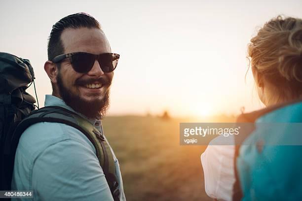 Young Smiling Man Hiking.