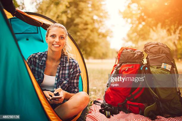Young Smiling Woman In Camp Tent.