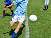 Young soccer players in action