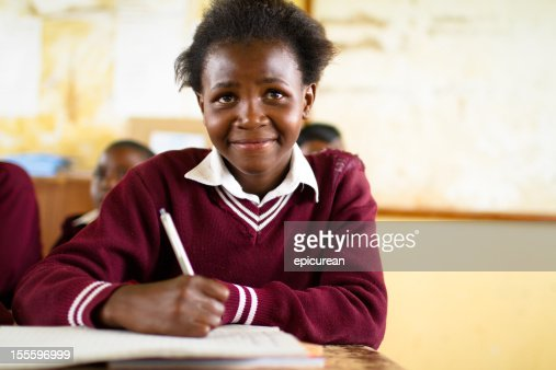 Young South African girl in classroom