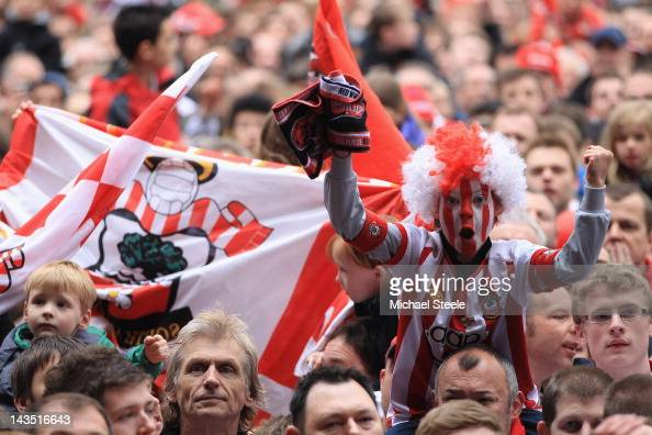 A young Southampton fan celebrates his teams promotion to the premier league after the npower Championship match between Southampton and Coventry...