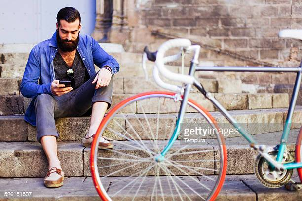 Young spanish hipster in Barcelona.