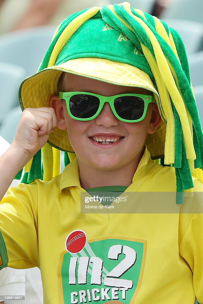 A young spectator enjoys the atmosphere during day four of the Second Test Match between Australia and South Africa at Adelaide Oval on November 25, 2012 in Adelaide, Australia.