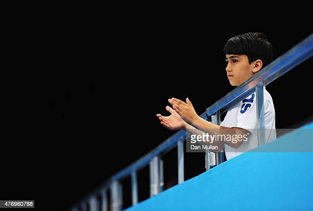 A young spectator looks on during the Women's Volleyball Preliminary Round match between Germany and Bulgaria on day one of the Baku 2015 European...