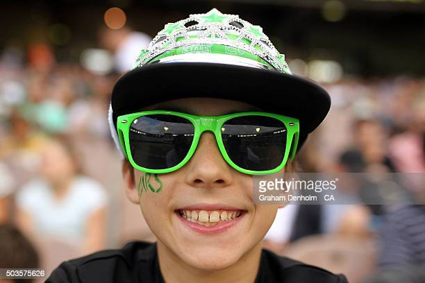 A young Stars fan shows his support during the Big Bash League match between the Melbourne Stars and the Hobart Hurricanes at Melbourne Cricket...