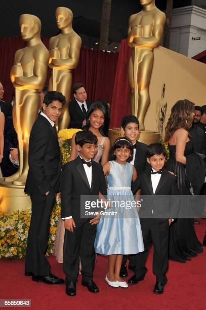 Young stars of 'Slumdog Millionaire' LR Front Azharuddin Mohammed Ismail Rubina Ali and Ayush Mahesh Khedekar Ashutosh Lobo Gajiwala Tanvi Ganesh...