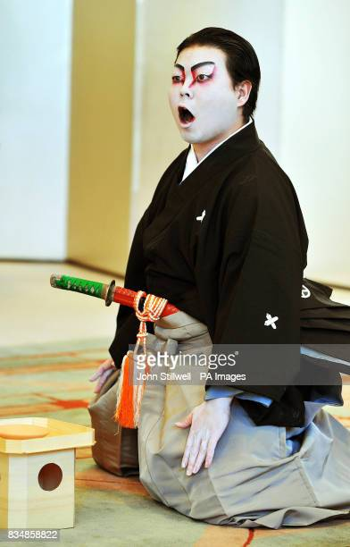 A young student during his performance of traditional Kubuki Theatre for the Prince of Wales and the Duchess of Cornwall at the Keio University in...