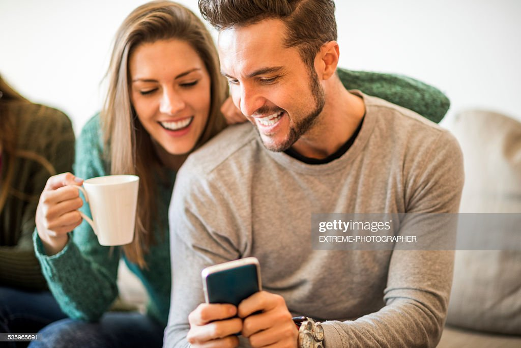 Young students having fun together : Stock Photo